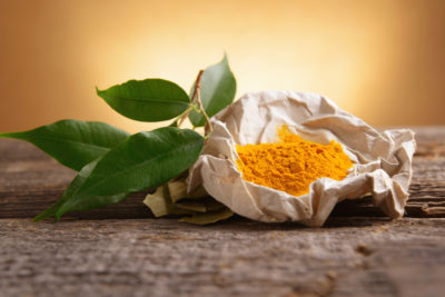 curcumin powder on table