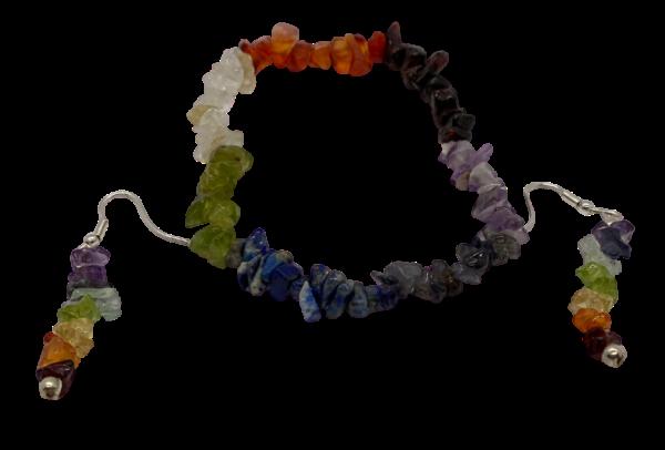 chakra jewelry set earrings and bracelet