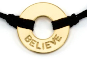 gold plated believe bracelet