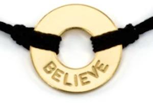 gold plated believe bracelet