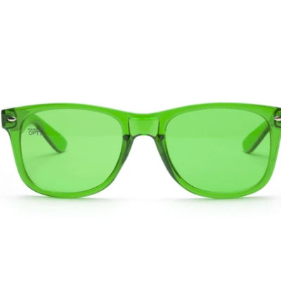 green glasses front