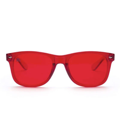 red glasses front